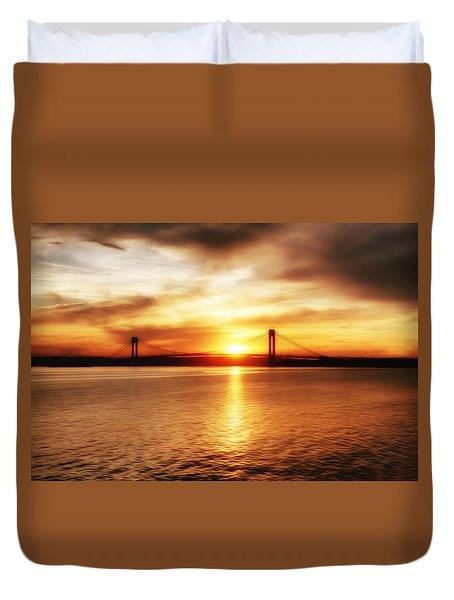 Verrazano Bridge At Sunset Duvet Cover