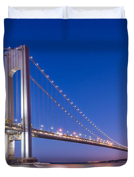 Verrazano Bridge Before Sunrise  Duvet Cover