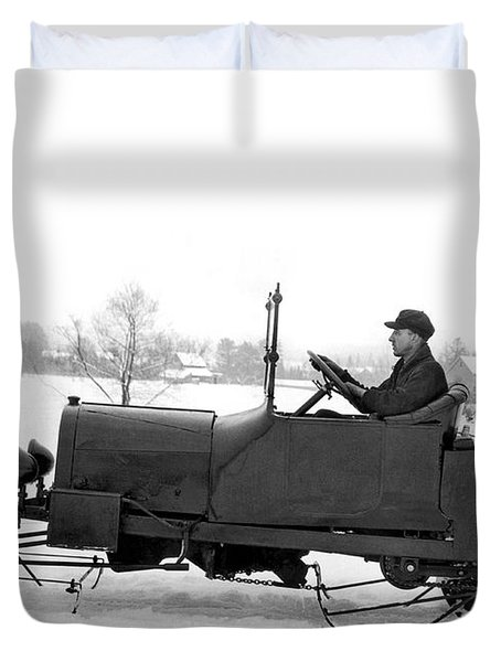 Very Early Snowmobile Duvet Cover by Underwood Archives