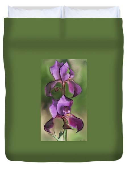 Very Purple Iris Duvet Cover by Mary Armstrong