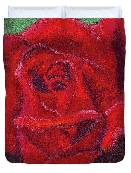 Duvet Cover featuring the painting Very Red Rose by Arlene Crafton