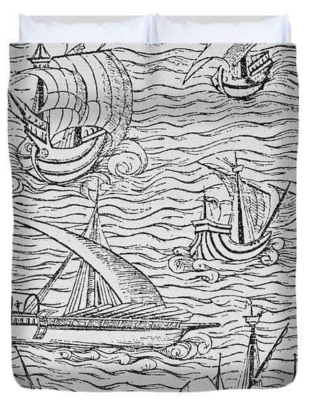 Vessels Of Early Spanish Navigators From The Narrative And Critical History Of American Duvet Cover by English School