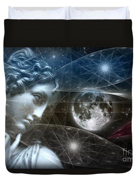 Duvet Cover featuring the digital art Vestal Moon by Rosa Cobos