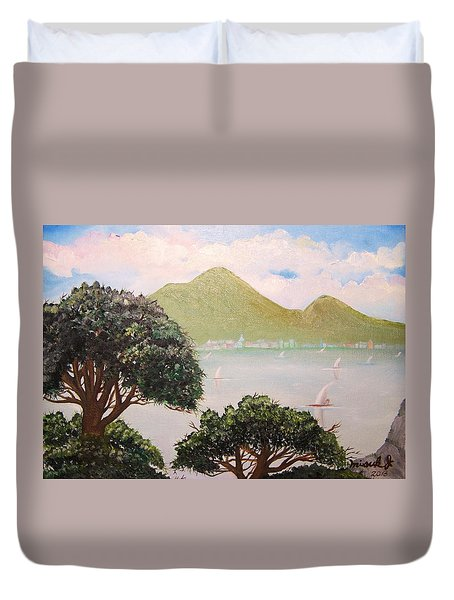 Vesuvius And Umbrella Pine Tree II Duvet Cover