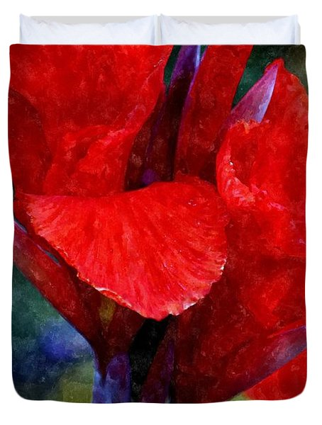 Vibrant Canna Bloom Duvet Cover by Patrick Witz