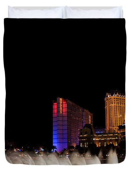 Vibrant Las Vegas - Bellagio's Fountains Paris Bally's And Flamingo Duvet Cover