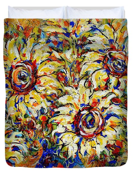 Duvet Cover featuring the painting Vibrant Sunflower Essence by Natalie Holland