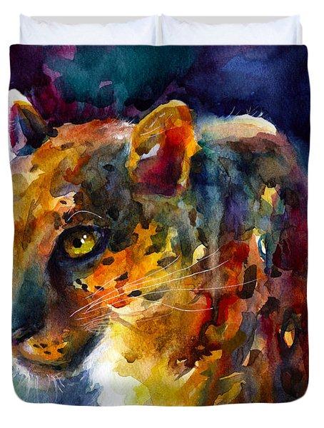 Vibrant Watercolor Leopard Wildlife Painting Duvet Cover by Svetlana Novikova
