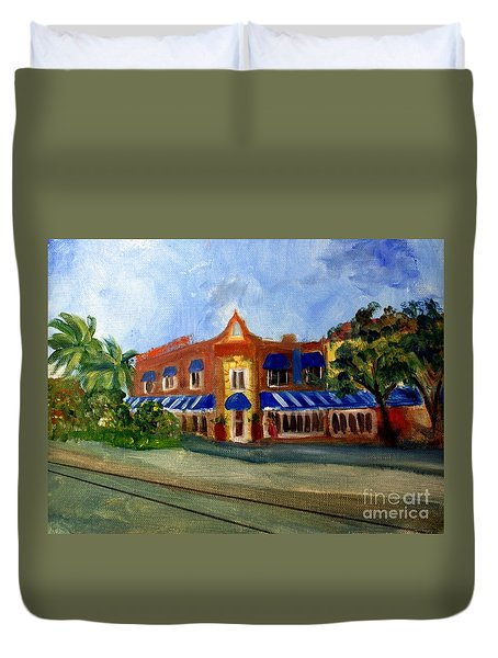 Vic And Angelos In Downtown Delray Beach Duvet Cover