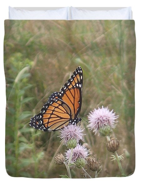 Duvet Cover featuring the photograph Viceroy On Thistle by Robert Nickologianis