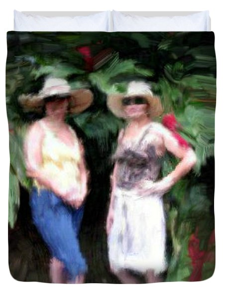 Duvet Cover featuring the painting Victoria And Friend by Bruce Nutting