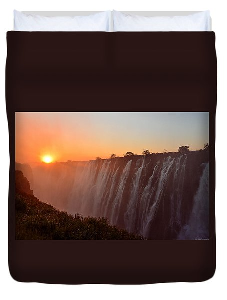 Victoria Falls At Sunset Duvet Cover