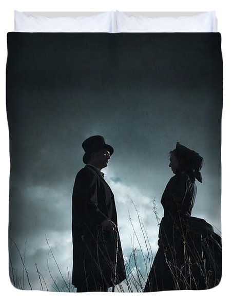 Victorian Couple Face On Another Before A Stormy Sky Duvet Cover by Lee Avison
