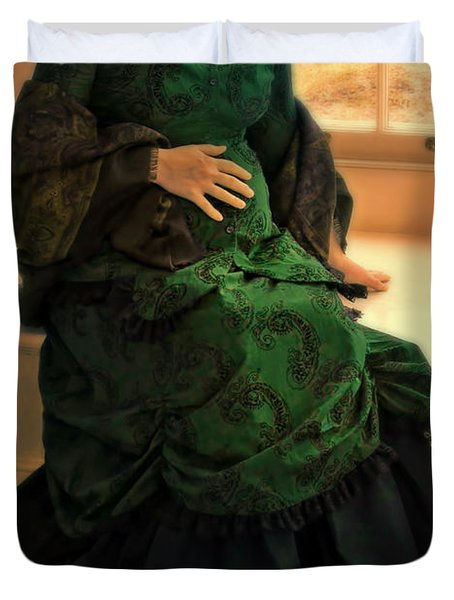 Victorian Lady Expecting A Baby Duvet Cover by Jill Battaglia