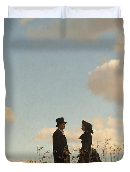 Victorian Man And Woman Duvet Cover by Lee Avison