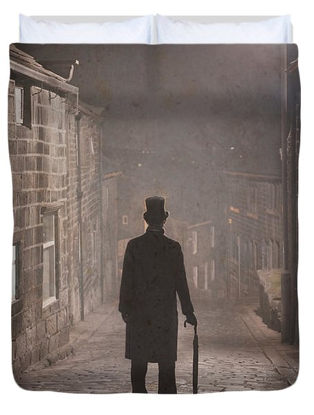 Victorian Man With Top Hat On A Cobbled Street At Night In Fog Duvet Cover by Lee Avison