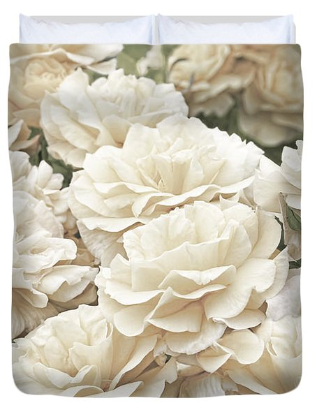 Victorian Roses In The Garden Duvet Cover