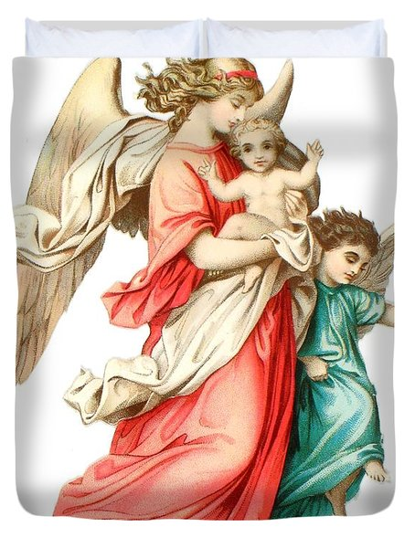 Victorian Scrap Relief Of The Christ Child Duvet Cover by English School