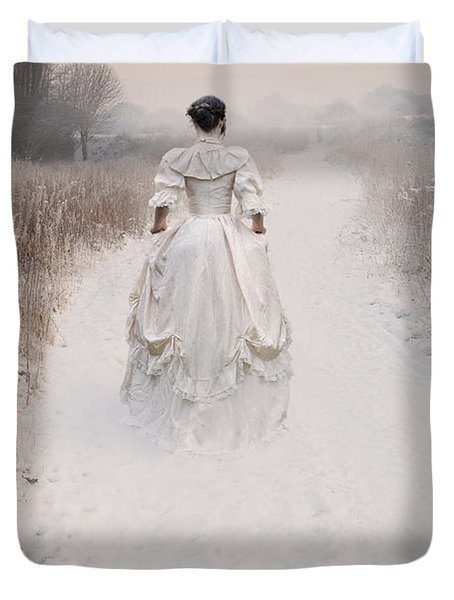 Victorian Woman Walking Through A Winter Meadow Duvet Cover