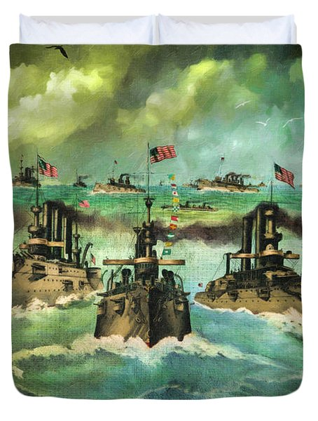 Victorious Navy - 1898 Duvet Cover by Lianne Schneider