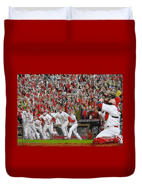 Victory - St Louis Cardinals Win The World Series Title - Friday Oct 28th 2011 Duvet Cover