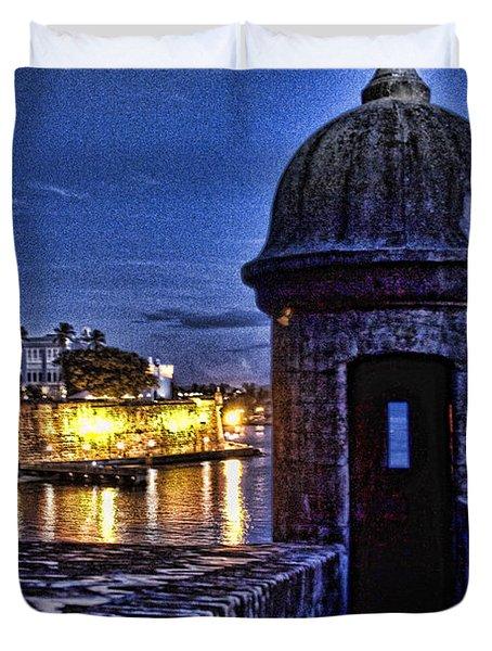 Viejo San Juan En La Noche Duvet Cover by Daniel Sheldon