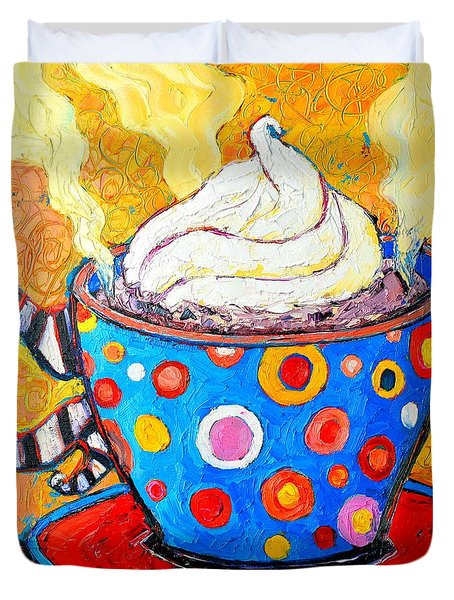 Viennese Cappuccino Whimsical Colorful Coffee Cup Duvet Cover by Ana Maria Edulescu