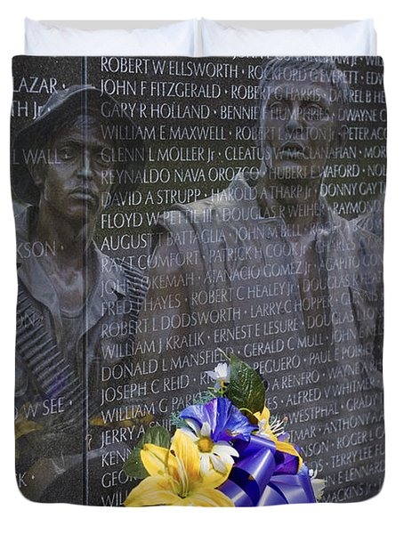 Vietnam Veteran Wall And Three Soldiers Memorial Collage Washington Dc_2 Duvet Cover by David Zanzinger