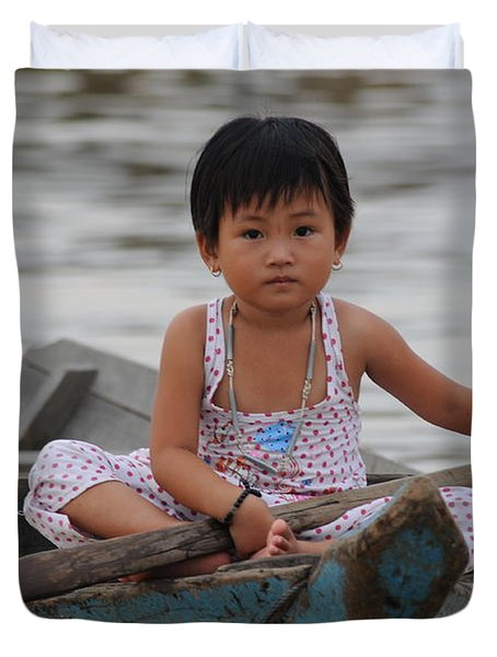 Vietnamese Girl On Lake Tonle Sap Duvet Cover