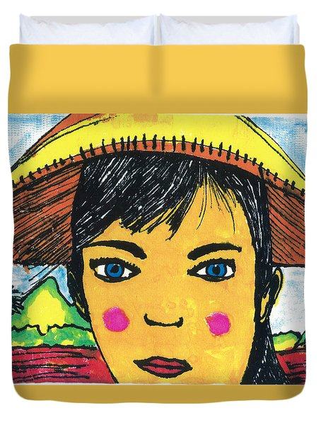 Duvet Cover featuring the drawing Vietnamese Girl  With Blue Eyes by Don Koester