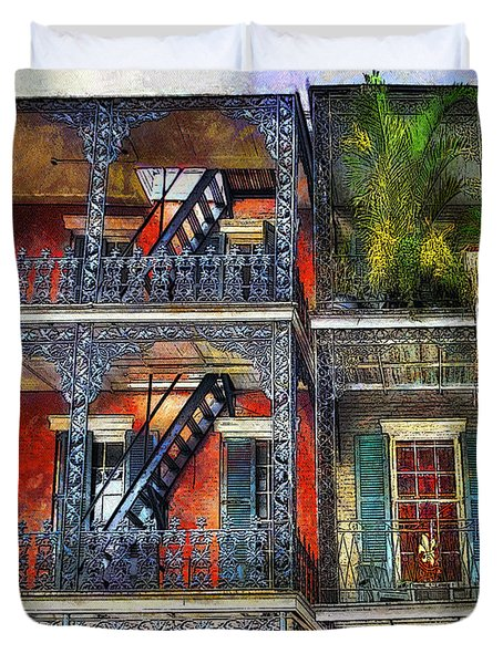 Duvet Cover featuring the photograph Vieux Carre' Balconies by Tammy Wetzel