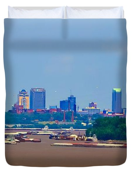 View From A Far St. Louis Downtown Duvet Cover by Peggy Franz
