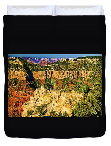 Duvet Cover featuring the photograph View From Angel Point  by Bob and Nadine Johnston