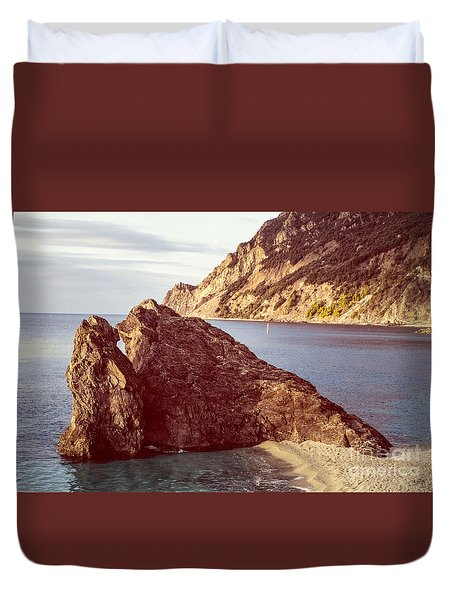 View From Beach Of Monterosso Duvet Cover