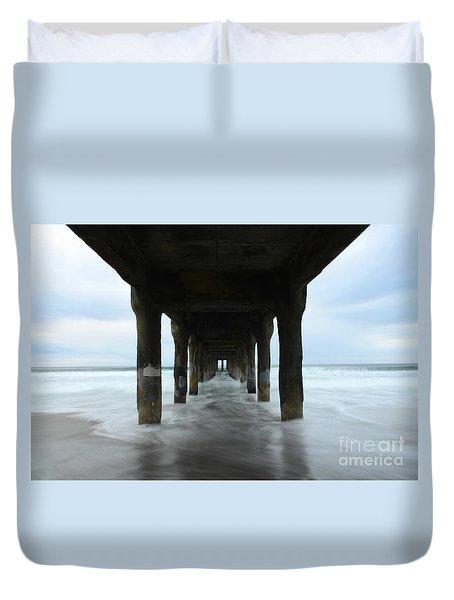 View From Below Manhattan Beach Pier Duvet Cover by Bob Christopher
