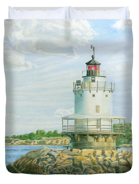 View From Casco Bay Ferry Duvet Cover