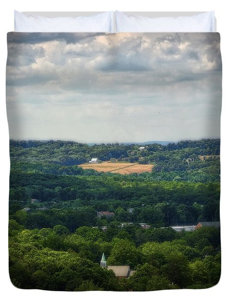 Duvet Cover featuring the photograph View From Goat Hill by Debra Fedchin