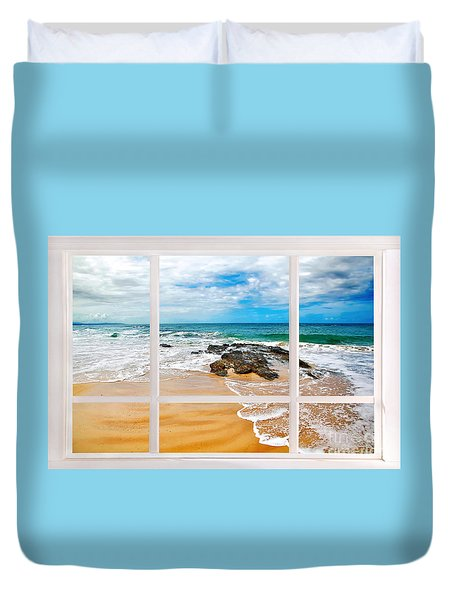 View From My Beach House Window Duvet Cover by Kaye Menner