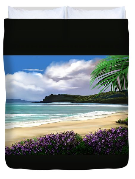 Duvet Cover featuring the digital art View From My Villa by Anthony Fishburne