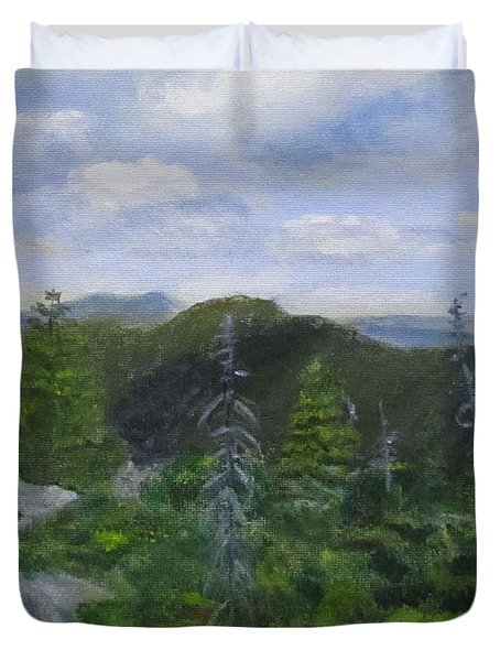 Duvet Cover featuring the painting View From Noon Peak by Linda Feinberg