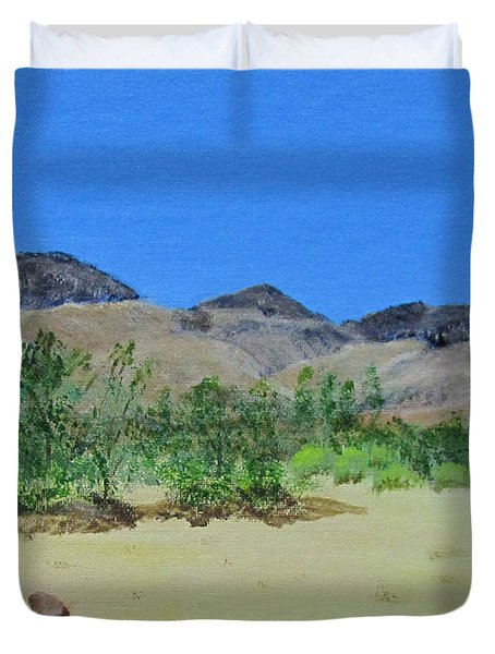Duvet Cover featuring the painting View From Sharon's House - Mojave by Linda Feinberg