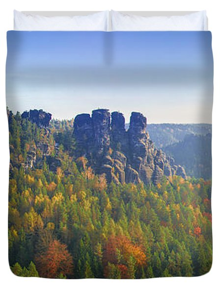View From The Bastei Bridge In The Saxon Switzerland Duvet Cover