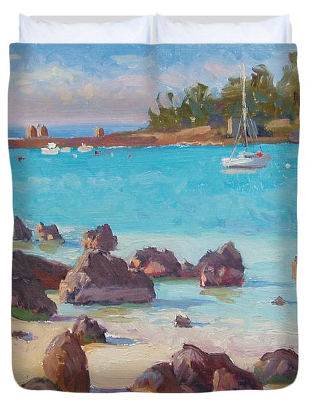 View From The Grotto Duvet Cover by Dianne Panarelli Miller