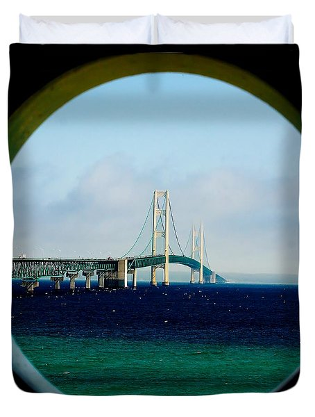 View From The Mackinac Light Duvet Cover by Nick Zelinsky