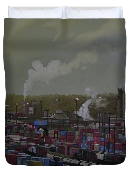 View From Viaduct Duvet Cover by Thu Nguyen