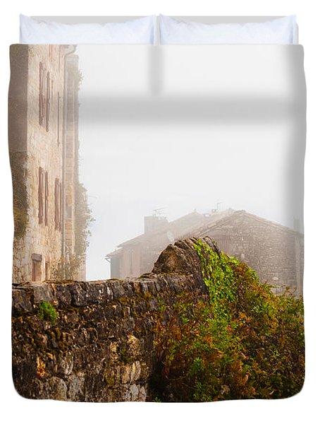 View Of A Town In Fog, Cordes-sur-ciel Duvet Cover
