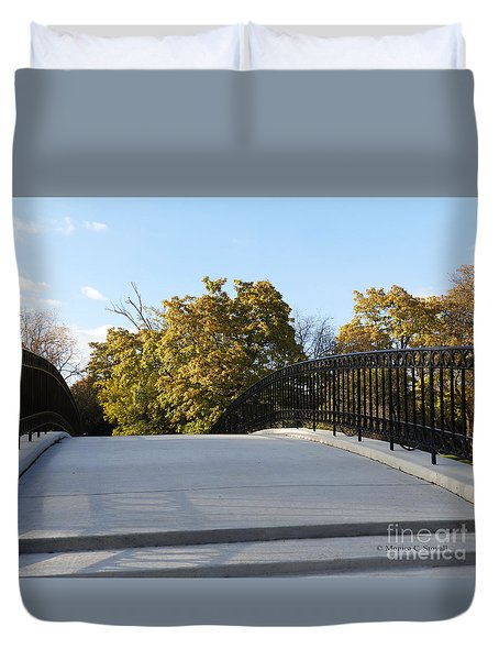 View Of Fall Trees From Footbridge - M Landscapes Fall Collection No. Lf21 Duvet Cover