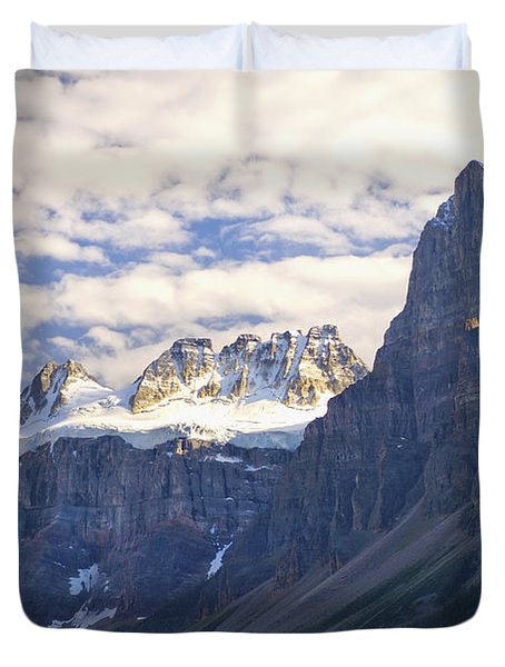 View Of Glacial Mountains And Trees In Duvet Cover by Laura Ciapponi