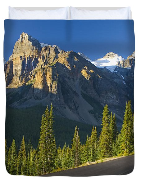 View Of Glacial Mountains And Trees Duvet Cover by Laura Ciapponi