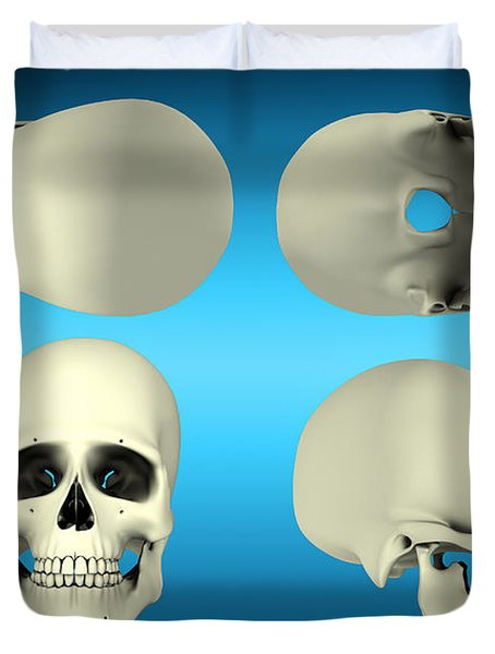 View Of Human Skull From Different Duvet Cover by Stocktrek Images